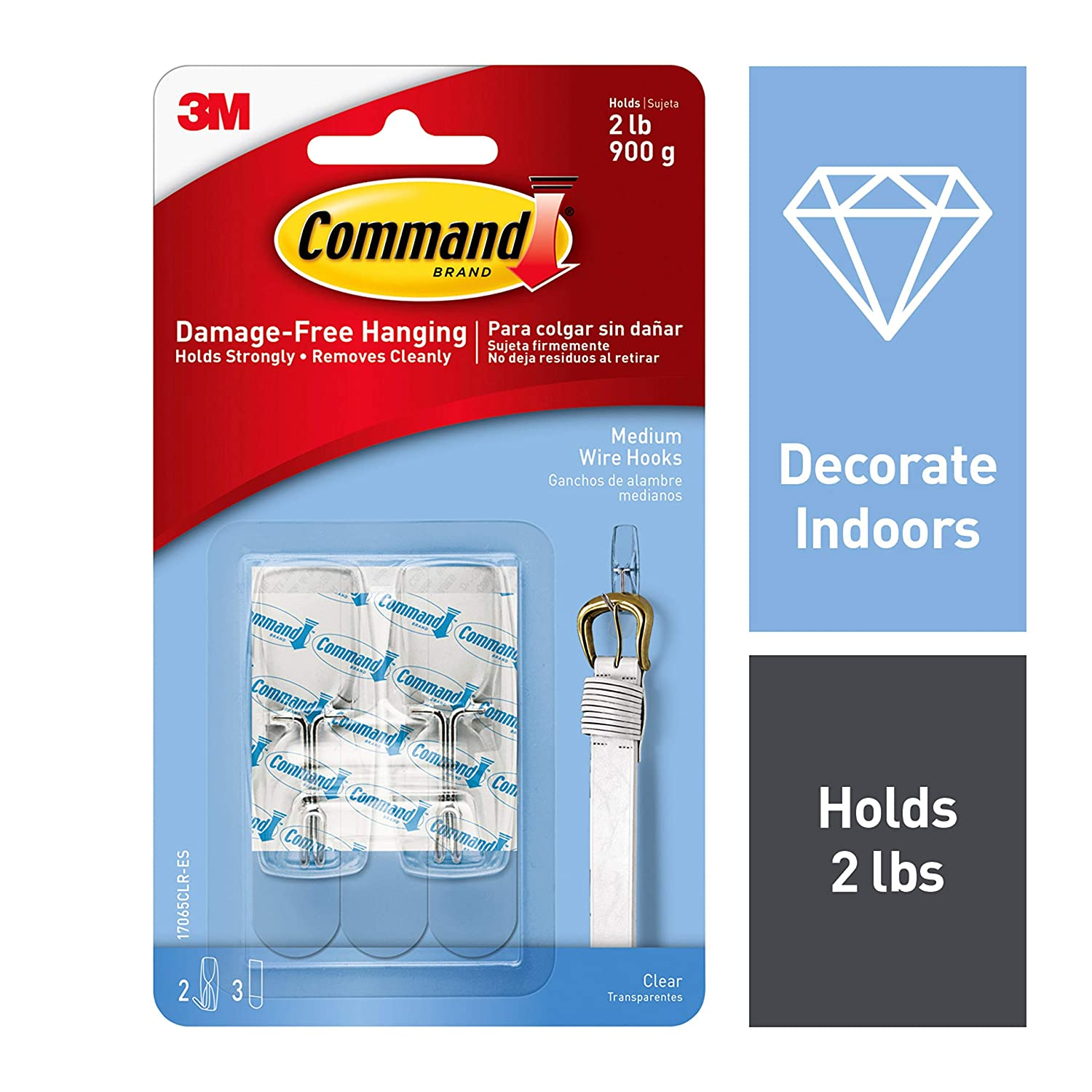 Command Clear Toggle Hooks, Decorate Damage-Free, Indoor Use (17065CLR-ES)