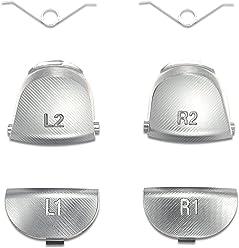 Supremery Playstation 4 Dualshock 4 Trigger Tasten Set aus Aluminium L1 L2 + R1 R2 Buttons Schultertasten Ersatzteile Zubehör für PS4 - Silver