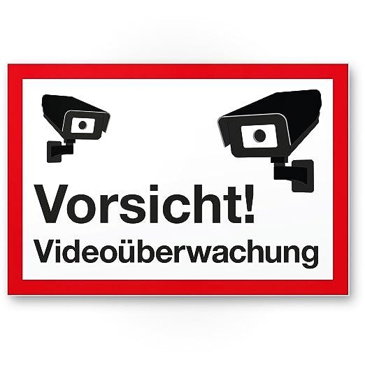 Vorsicht Videovigilancia Cartel (Blanco de rojo, 30 x 20 cm ...