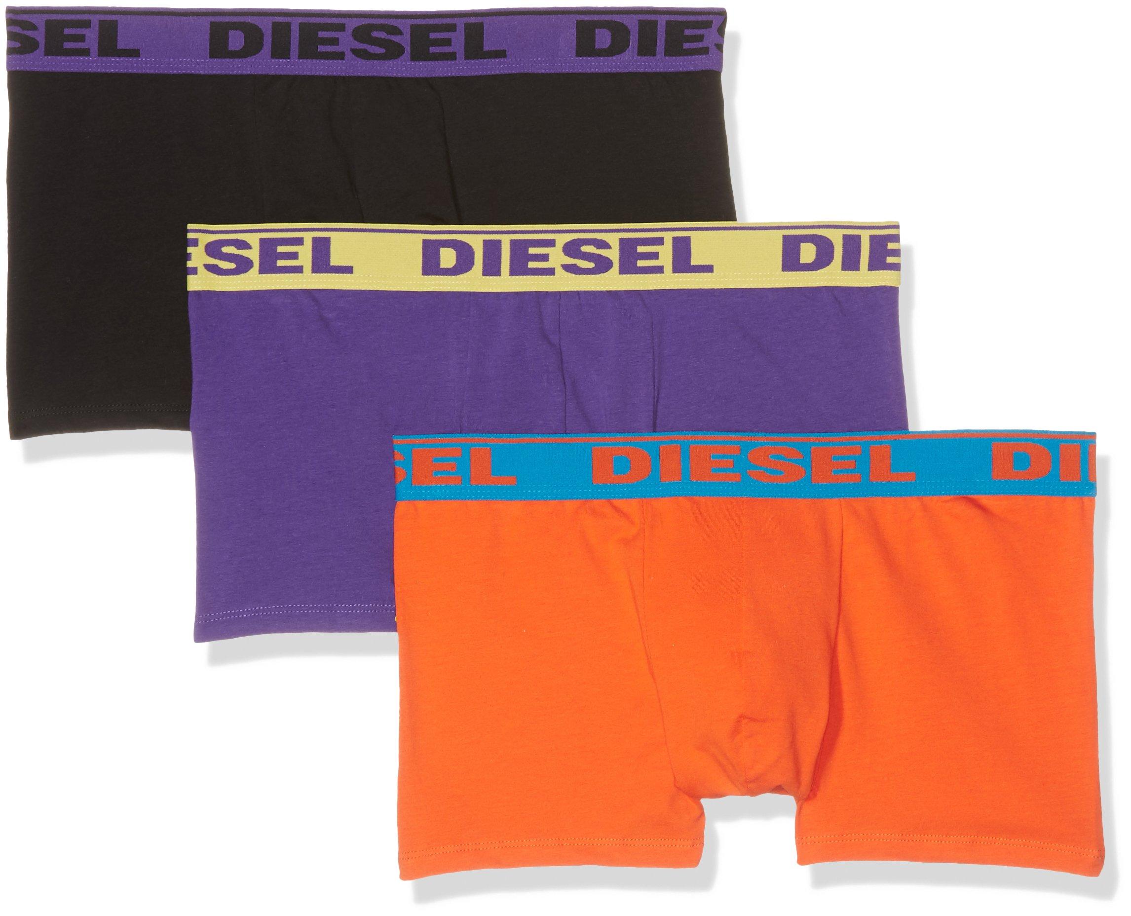 Diesel Men's 3-Pack Shawn Stretch Boxer Trunk, Purple/Orange/Black, Medium