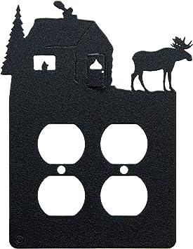Moose Cabin Double Duplex Power Outlet Wall Plate Double Power Black Amazon Com