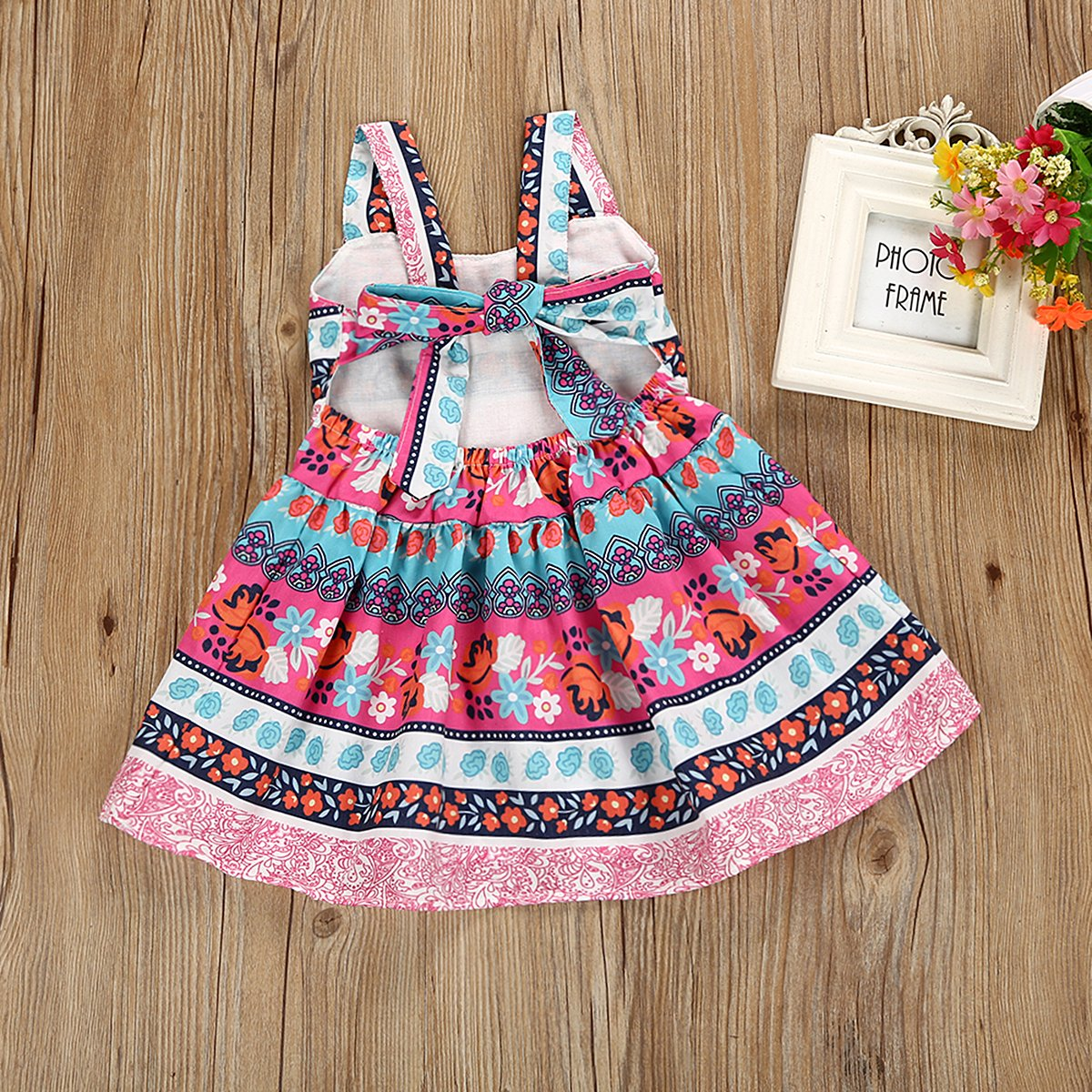 Camidy 1-5T Baby Toddler Girl Vintage Bohemian Floral Sundress Backless Strap Dress
