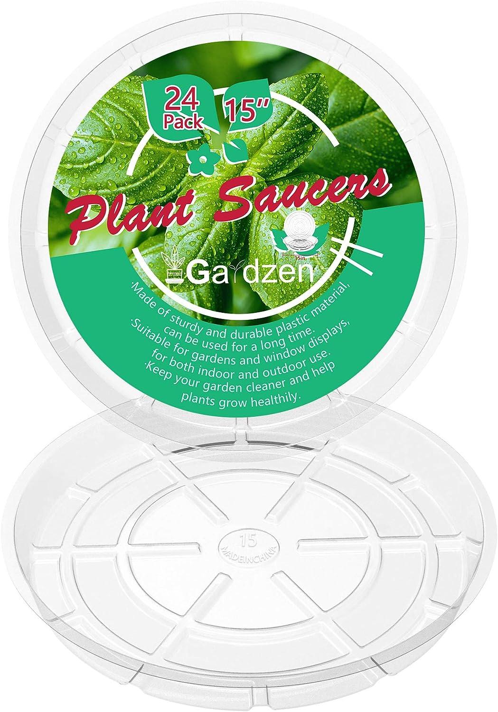 Gardzen Heavy Duty Clear Plastic Plant Saucers, Flower Pot Tray - Excellent for Indoor & Outdoor Plants (15-Inch, 24-Pack)