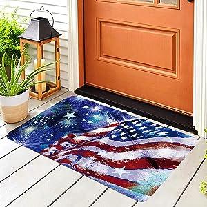 Vanproo Patriotic American Flag Door Mat, 15.7 x 23.6 Inch Statue of Liberty American Pentagram Fourth of July Independence Day Indoor Door Mat Bathroom Doormat Welcome Mat for Kitchen Home Decor (G)