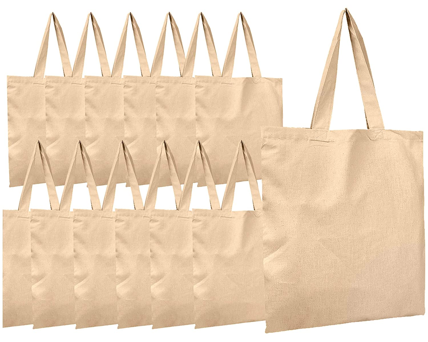 03ec82230e0 BagzDepot Canvas Tote Bags Wholesale - 12 Pack - Grocery Cotton Tote Bags  in Bulk, Reusable Bags for Decorating Crafts Blank Canvas Bags Events  Schools Well ...
