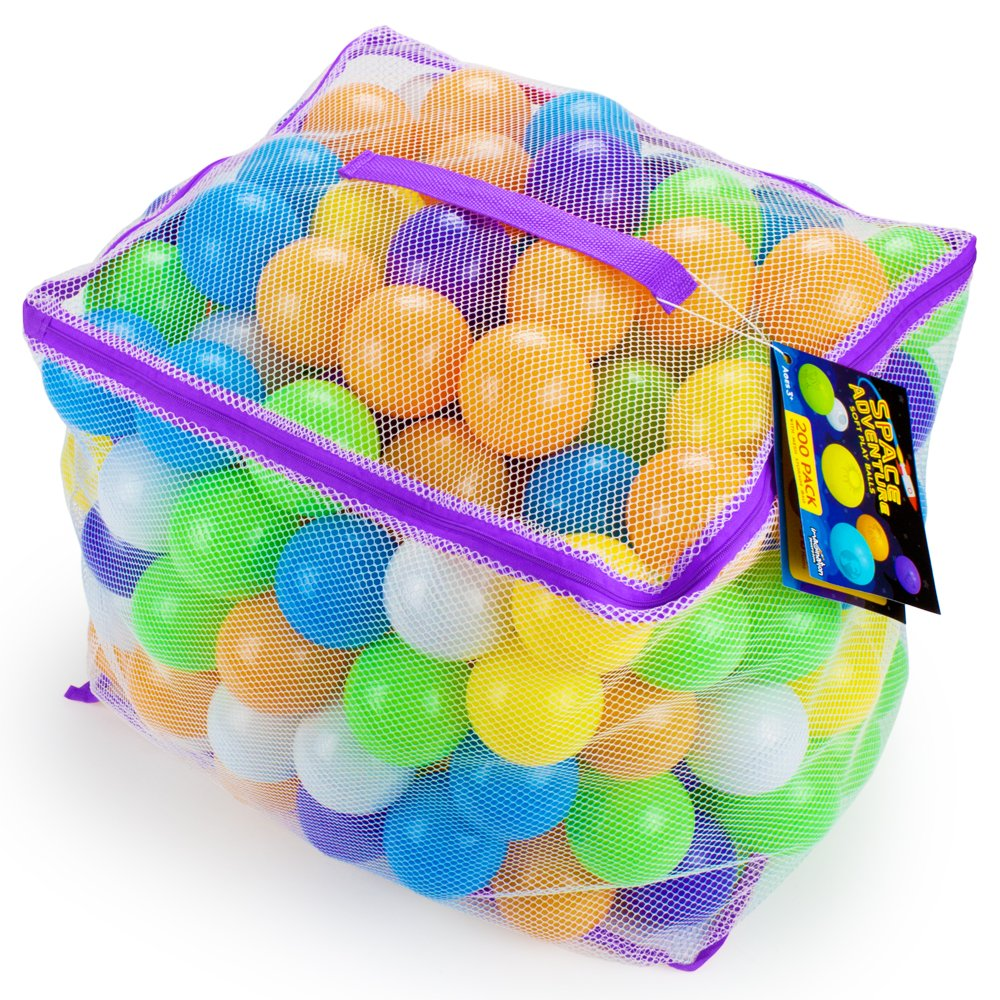 200 Space Adventure Soft Ball Pit Balls with Fun Illustrations and Mesh Carrying Case by Imagination Generation by Imagination Generation