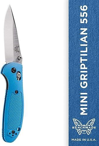 Benchmade – Mini Griptilian 556 EDC Manual Open Folding Knife Made in USA with CPM-S30V Steel, Drop-Point Blade, Plain Edge, Satin Finish, Blue Handle