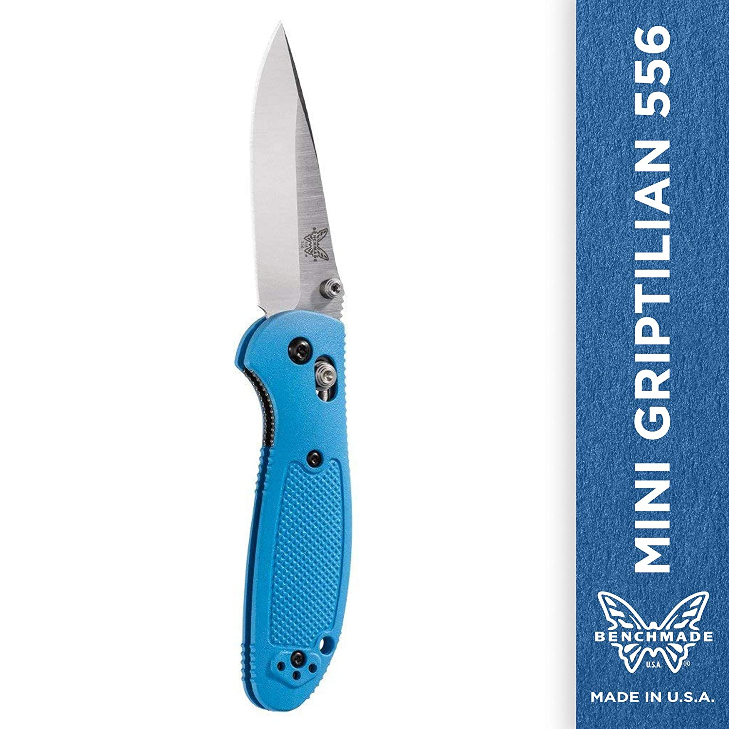 Benchmade – Mini Griptilian 556 EDC Manual Open Folding Knife Made in USA with CPM-S30V Steel, Drop-Point Blade, Plain Edge, Satin Finish, Blue Handle