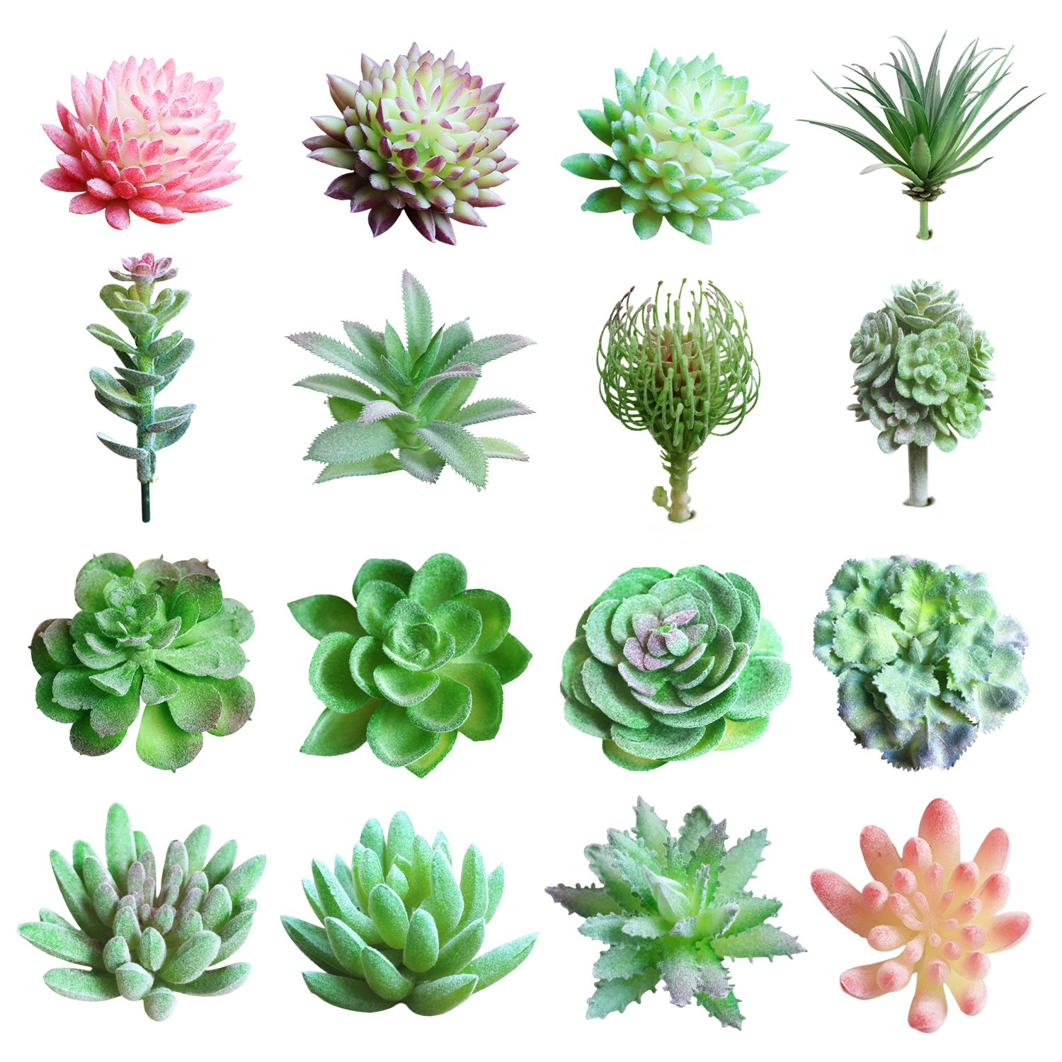 16 Pcs Artificial Succulent Mixed Flowers Plants Succulent Unpotted Decor Stems Artificial Succulents Plants for Home Indoor Wall Garden DIY Decorations