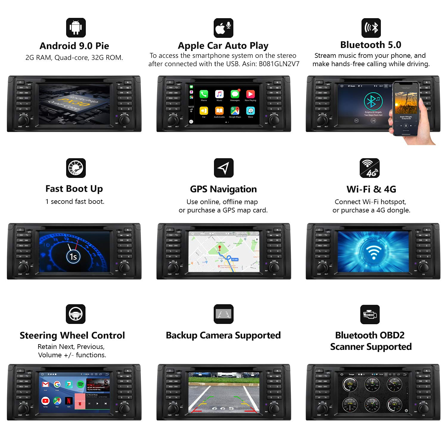 Support Apple Carplay//Android Auto//Bluetooth 5.0//WiFi//Fast Boot//DVR//Backup Camera//OBDII-GA9349 E39 Car Stereo Android Radio Eonon 7 Inch Android 9.0 Car Radio Applicable to BMW 5 Series 1995-2002