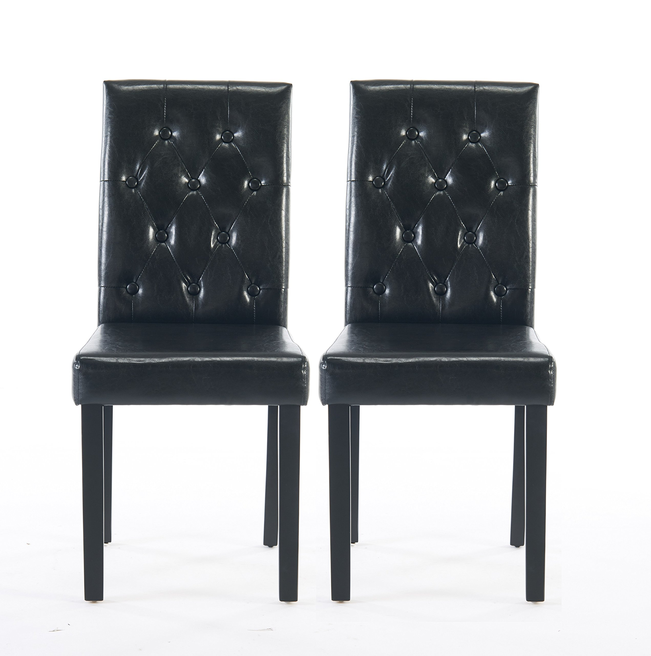 Comfortable Live New Modern Style Dining Chair in Home and Garden with Leather Set of 2(black) by Comfortable live (Image #1)