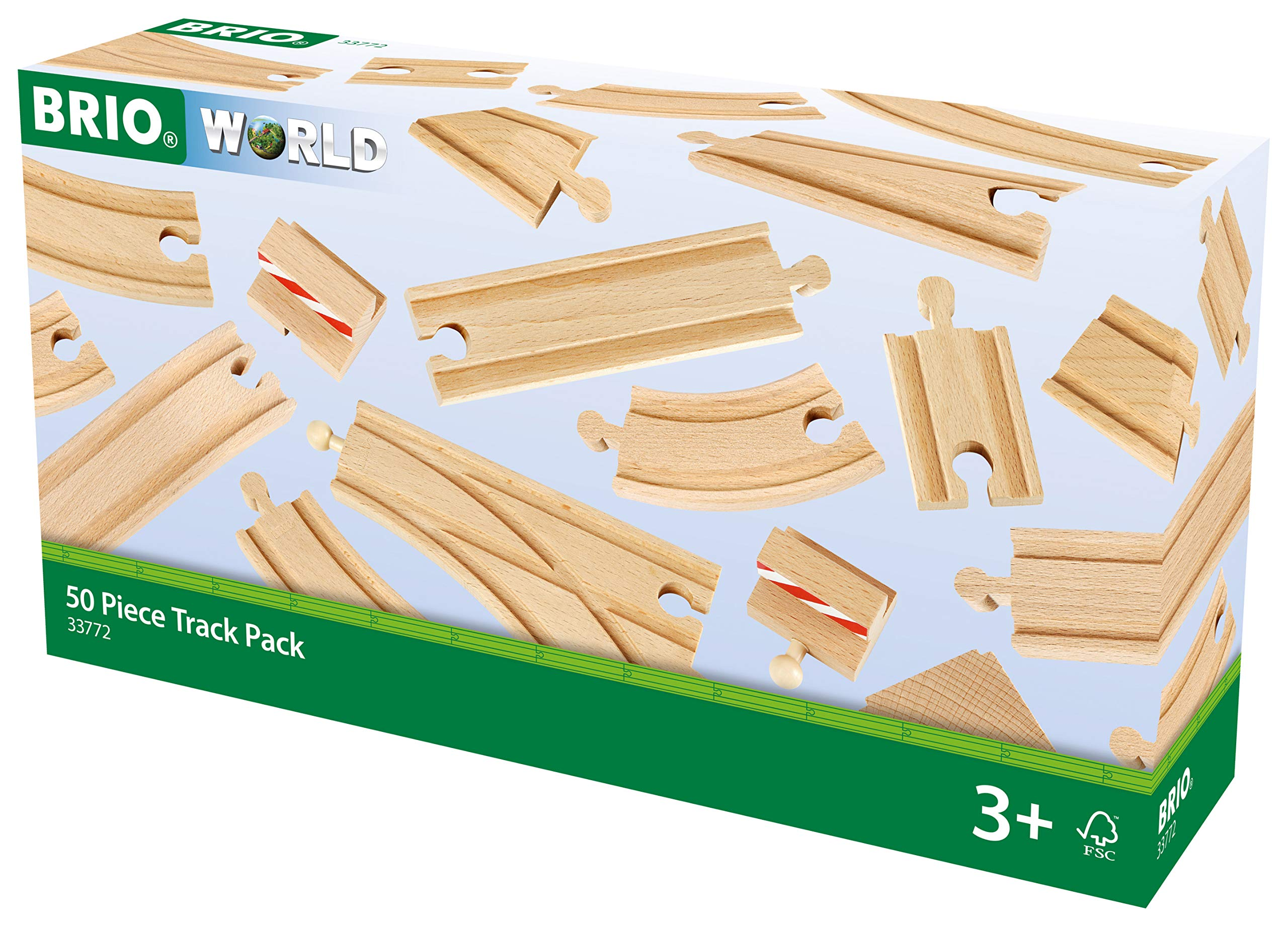 BRIO 33772 Special Track Pack | 50 Pieces of Wooden Tracks and Train Accessories for Kids Age 3 and Up