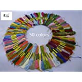 2500 Silk Art 50 Skeins of Multi-color Soft Cotton Cross Stitch Threads Sewing Embroidery Floss 8M (Random Color) SZX001C50