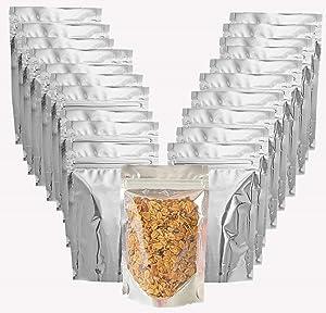 Mylar bags-50 pack mylar ziplock bags for food storage, 50 Pieces aluminum bags ziplock Good for Food, Beans, Grain, airtight resealable mylar bags, sealing mylar bags aluminum foil bags, size (4x6)