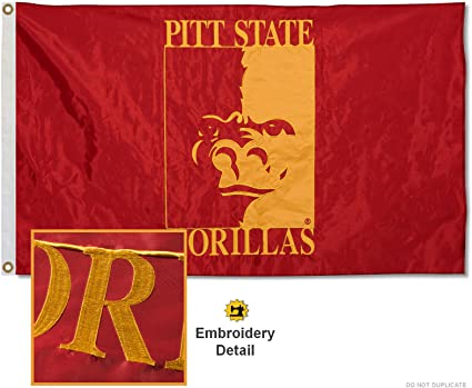 Pittsburg State Gorillas Embroidered and Stitched Nylon Flag