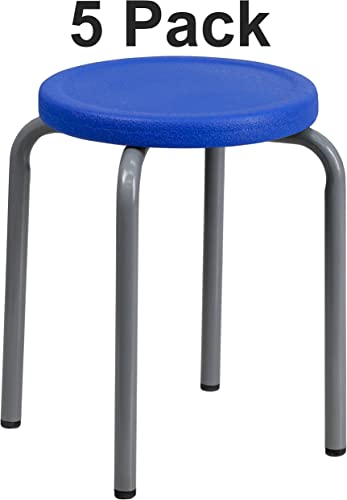 Flash Furniture 5 Pk. Stackable Stool with Blue Seat and Silver Powder Coated Frame