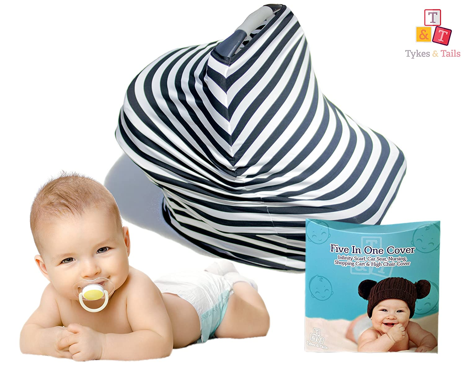 人気 Tykes & Tails Stripe - 5 in 1 Pattern Baby Breastfeeding Colors Cover, Car Seat Cover, Shopping Cart Cover and Trendy Scarf - Black/ White Stripe Pattern - Many Other Colors Options - Best 5in1 Nursing Cover on the Amazon by Tykes & Tails B01KGBJ5BM, 日本パール:0e67e6aa --- a0267596.xsph.ru