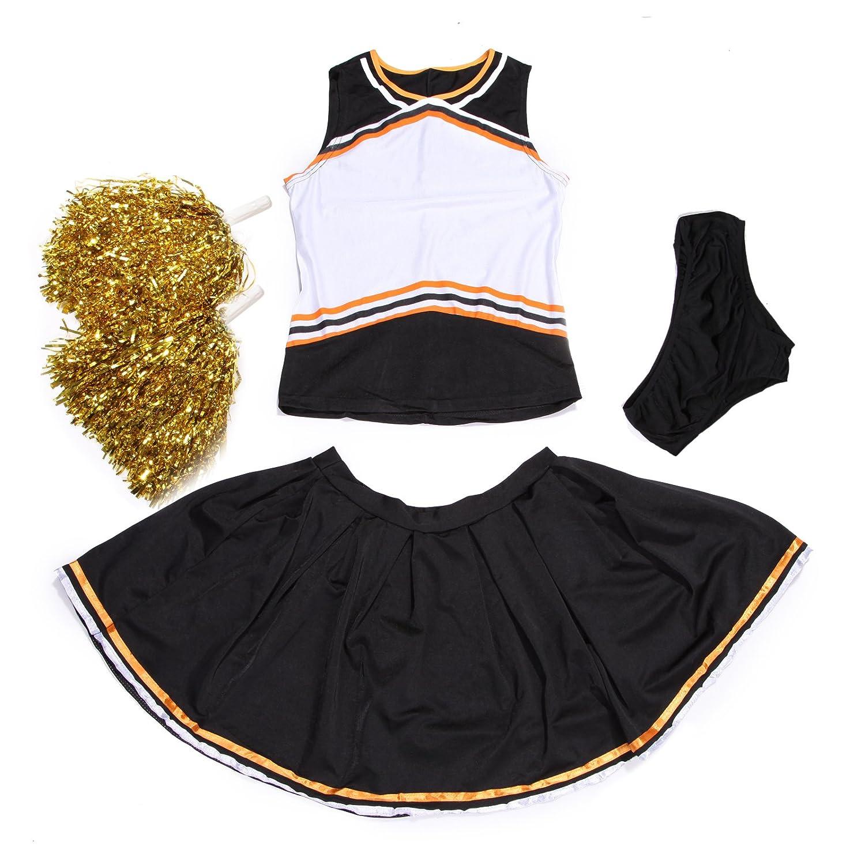 Cheerleader-Uniform, personalisierbar vorne, mit Slip und Pompons, schwarz und orange maboobie UK_LG41824