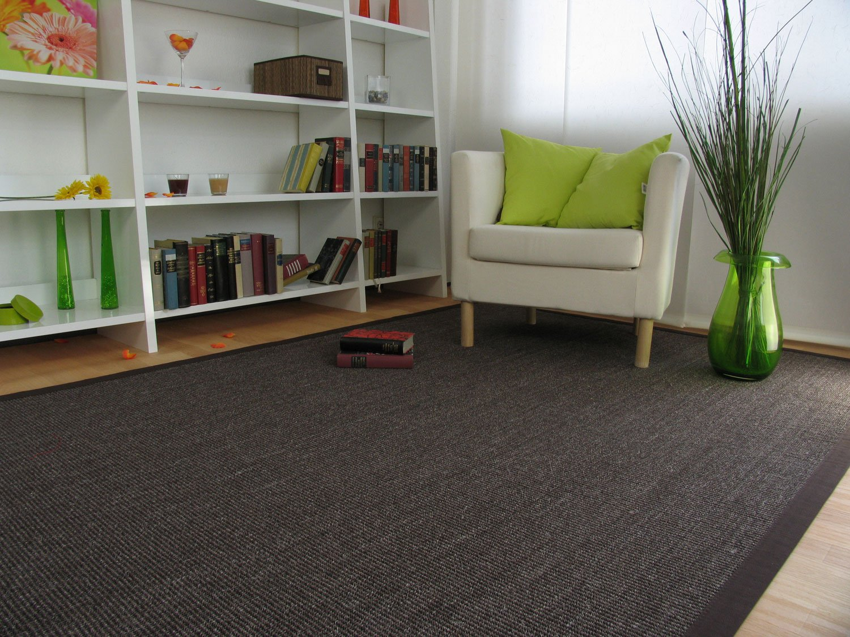 Astra Sisal Teppich Manaus mit Bordüre Farbe kaffee mocca braun 100% Sisal - 18 Größen, Größe  140x200 cm