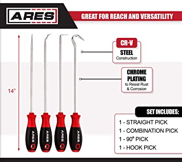ARES 70246-4-Piece Hook and Pick Set 90 Degree Pick Includes a Large Straight Pick Gaskets and More Easily Remove Hoses Chrome Vanadium Steel Shafts Combination Pick and a Hook Pick
