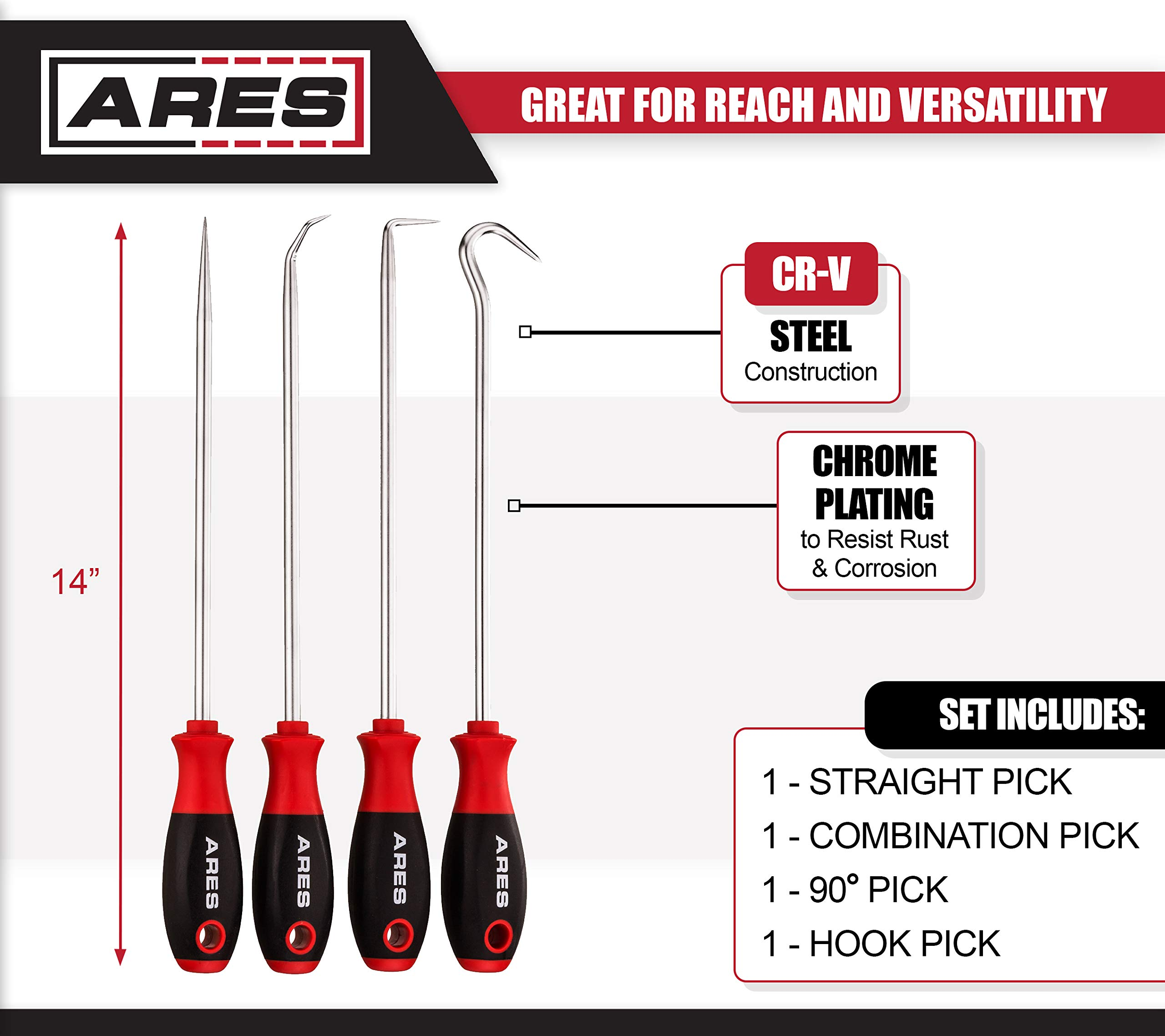 ARES 70246-4-Piece Hook and Pick Set - Includes a Large Straight Pick, 90 Degree Pick, Combination Pick and a Hook Pick - Chrome Vanadium Steel Shafts - Easily Remove Hoses, Gaskets and More by ARES (Image #2)