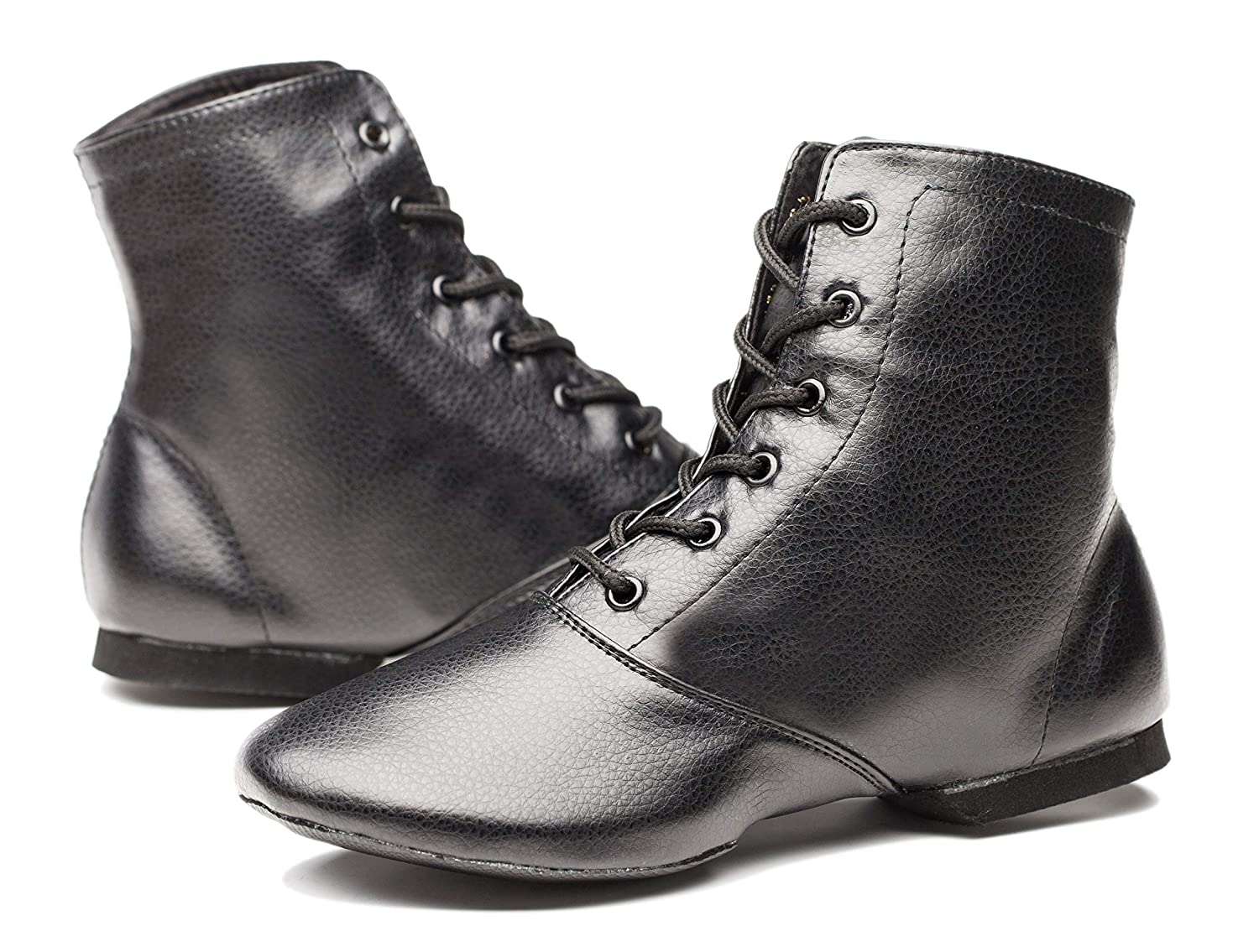 Men's Swing Dance Clothing, Vintage Dance Clothes Joocare Mens Black Leather Split Sole Jazz Dance Boots Shoes $19.99 AT vintagedancer.com