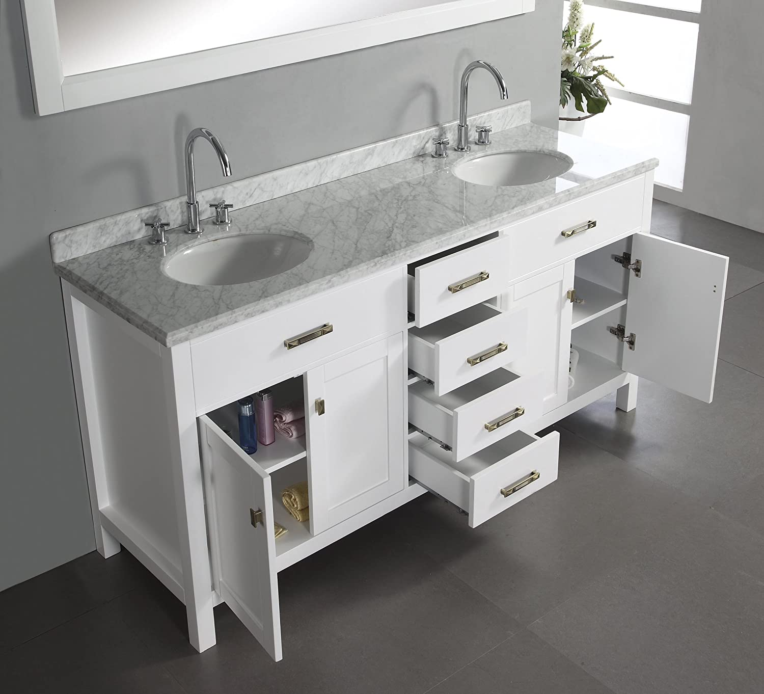 double sink vanity white. Virtu USA MD 2072 WMRO WH Caroline 72 Inch Double Sink Bathroom Vanity with  Italian White Carrera Marble Countertop and Mirror Finish Amazon com
