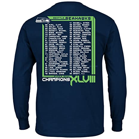 Seattle Seahawks 2013 Super Bowl Champs Roster Long Sleeve Championship T- shirt S