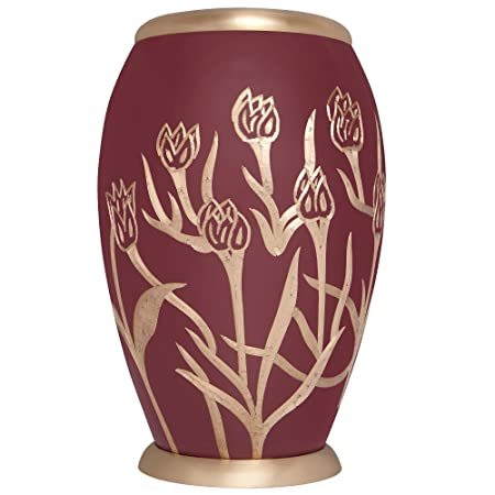 Maroon funeral urn with gold tulips – Red cremation urn for human ashes – Brass Metal – Suitable for cemetery burial or niche – Large Size fits remains of adults up to 200 lbs – Pastoral Model