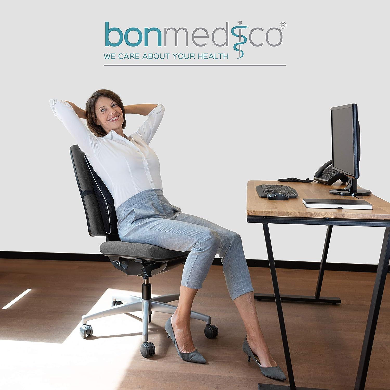 Bonmedico Almohada Ergonómica para Espalda de Espuma de Memoria, Almohada de Espalda para Posición Cómoda en Vida Diaria, Almohada Lumbar para el ...