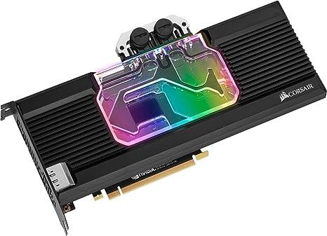 Nero Corsair Hydro X Serie Precisione Struttura Alluminio Backplate XG7 RGB SERIE 20 Waterblock per GPU per NVIDIA GeForce RTX 2070 Personalizzabili Illuminazione RGB