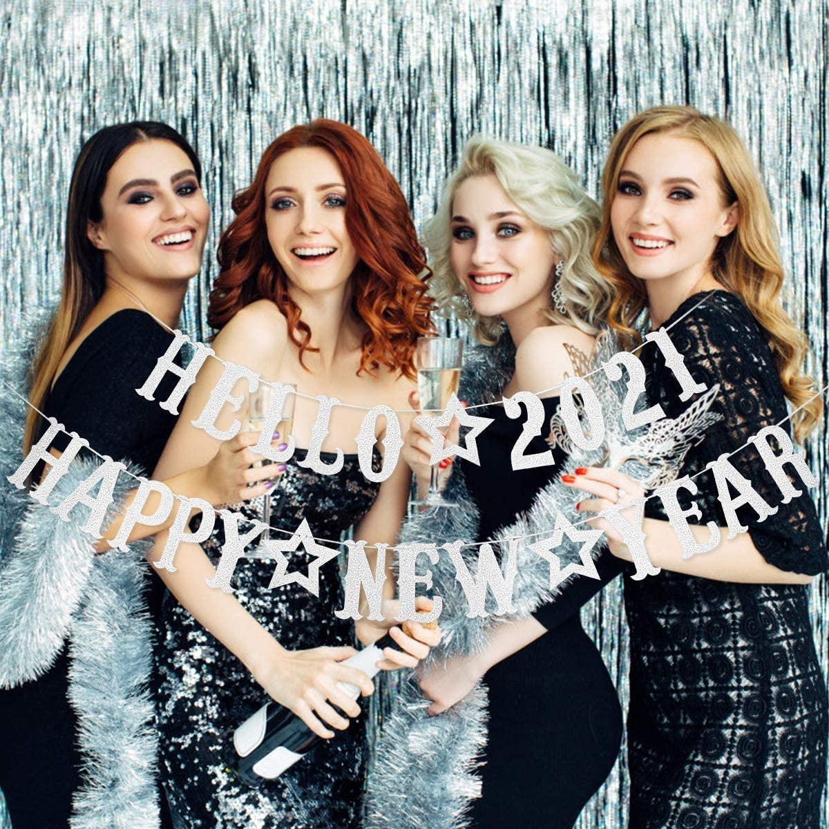 New Years Eve Party Supplies 2021 Silver Glittery Hello 2021 Banner and Silver Glittery Happy New Year Banner NYE Decorations 2021,Happy New Year Decorations 2021,New Years Decorations for Home Office Fireplace Mantel Farewell to 2020 and Welcome to 202