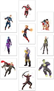 Watercolor Avengers End Game Poster Prints - Set of 10 (8x10) Glossy Marvel Wall Art - Captain Marvel - Black Widow - Captain America - Thanos - Nebula - Antman - Thor - Hulk - Hawkeye - Iron Man