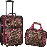 Rockland 中性 登机箱 粉红豹纹 19寸拉杆箱+14寸手提袋套箱 F102(亚马逊自营商品, 由供应商配送)