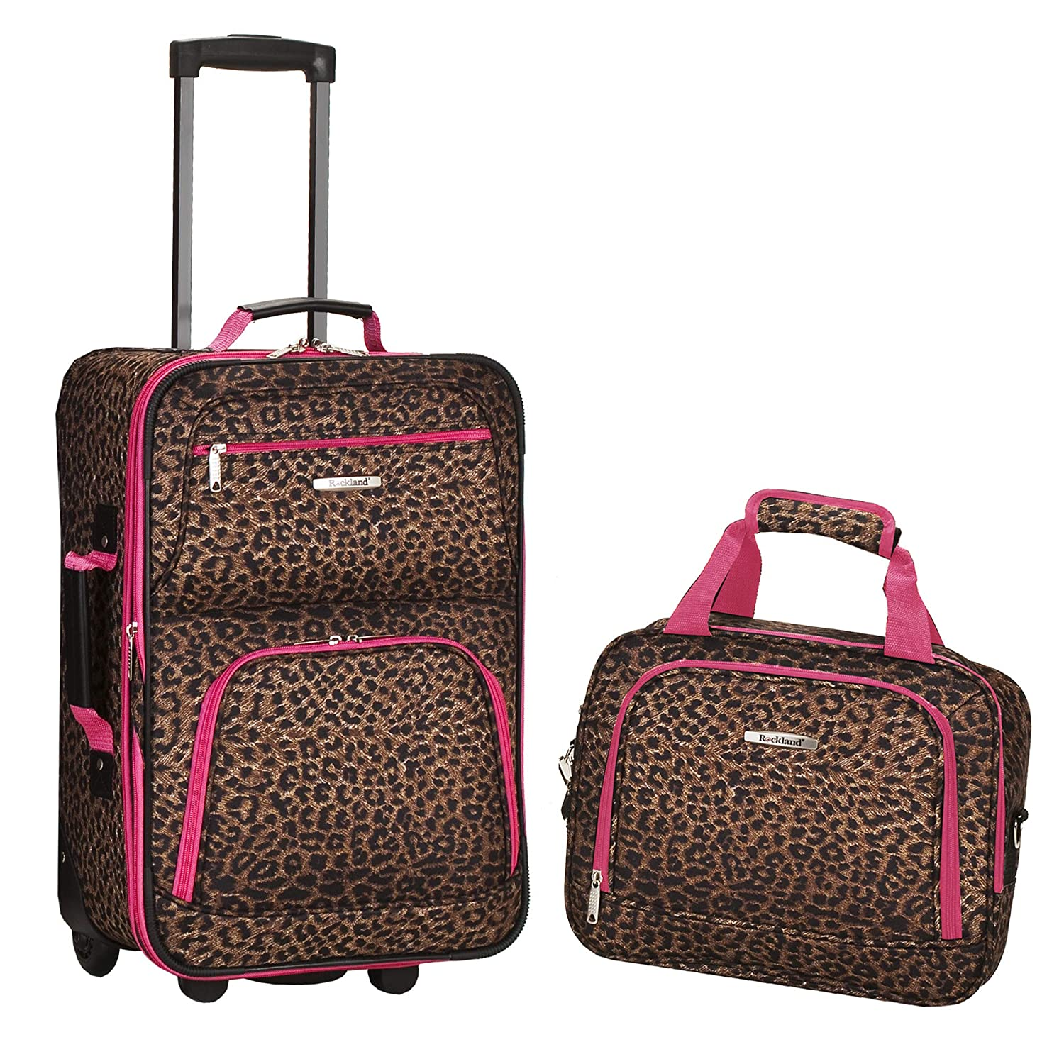 Rockland Luggage 2 Piece Printed Set, Pink Leopard, Medium
