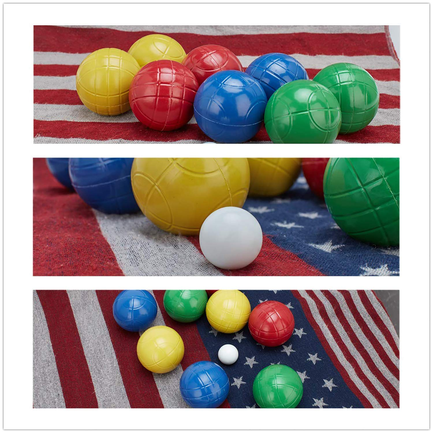 LAWN TIME 90mm Bocce Ball Set | Includes 8 Recreational Plastic Balls, 1 Pallino (Jack Ball) and 1 Nylon Zip-Up Carrying Case | Beach, Backyard or Outdoor Party Game - Family Fun for All Ages by LAWN TIME (Image #3)