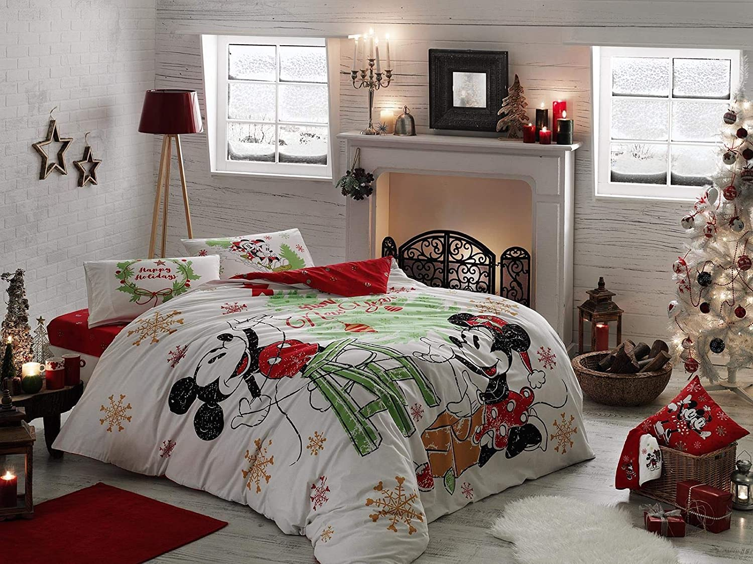 TAC 100% Cotton Double Queen Size Bedding Set Duvet Quilt Cover Set Comforter Cover Mickey Minnie Mouse Happy New Year