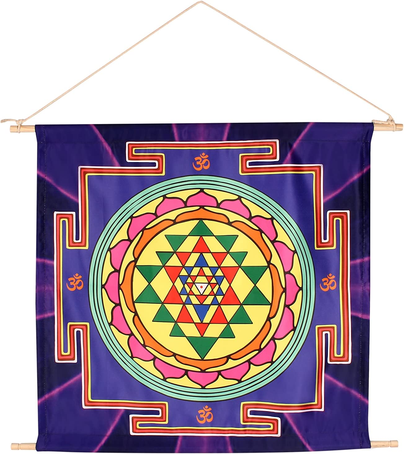 "HappyGenie 21"" X 22"" Sri Yantra Mandala Meditation Banner -Sacred Geometry Wall Decor for Abundance, Peace and Prosperity (Made in Accordance to Ancient Scriptures) - Accurate and Energized"