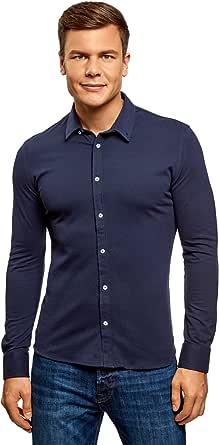 oodji Ultra Hombre Camisa Entallada de Punto
