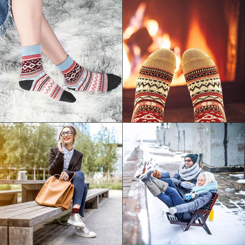 morbide calde colorate spesse traspiranti 6 paia comode calze invernali vintage Gifort Calze da donna in lana