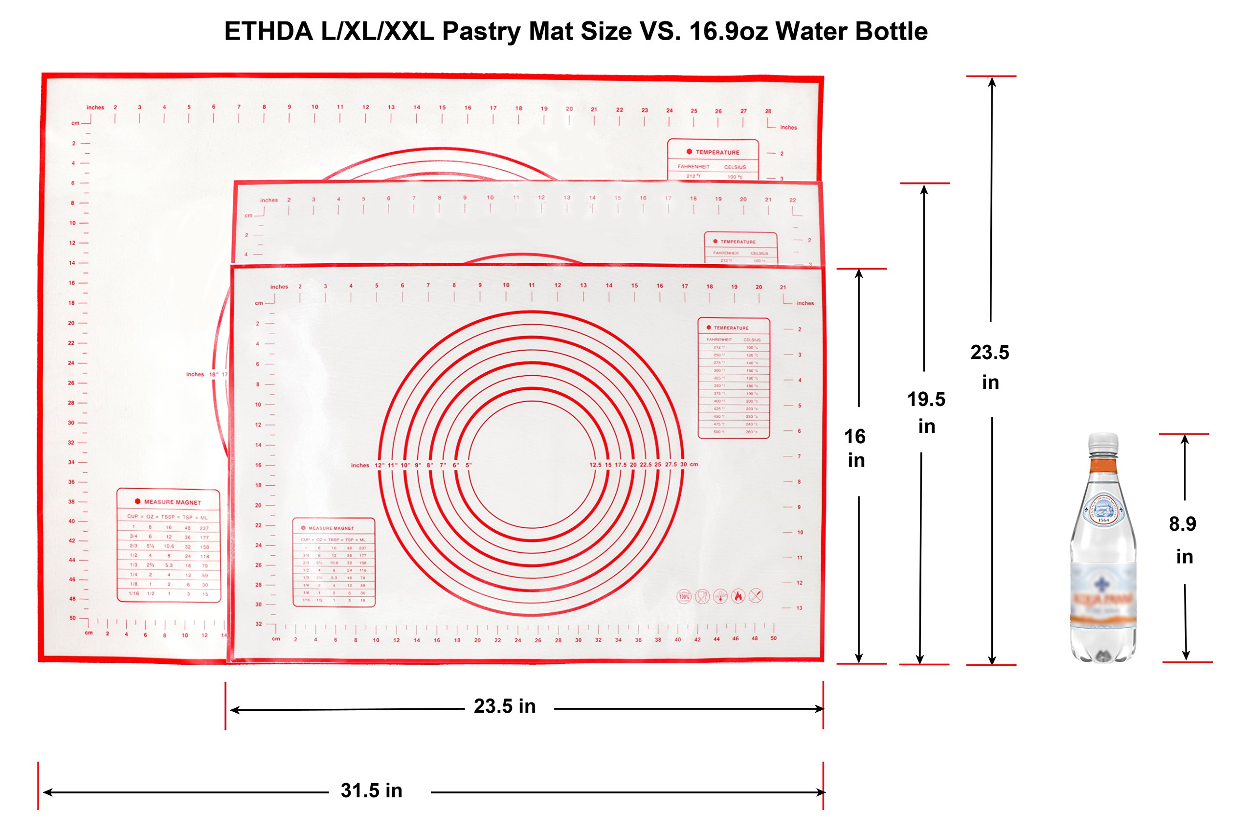 ETHDA Silicone Pastry Mat Extra Large with Measurements, Dough Rolling Baking Sheet, Non-Slip, Non-Stick,Oven Liner for Fondant,Pie Crust,Cookie, Mother's Day Gift, XL (19.5''x23.5'') by Ethda (Image #9)