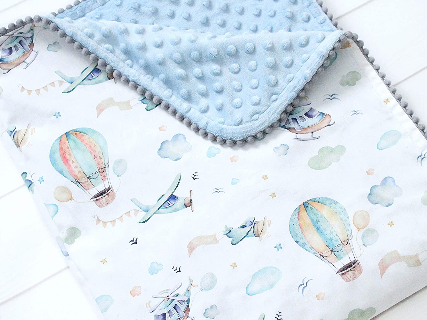 Personalized Boy Airplane Nursery Swaddle Blanket