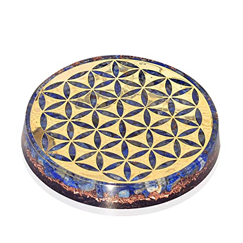 Orgonite Crystal Water Charging Plate with Lapis Lazuli Healing Crystals and Flower of Life Chakra Healing Orgone Water Plate for Spiritual Protection and Cleansing 90mm