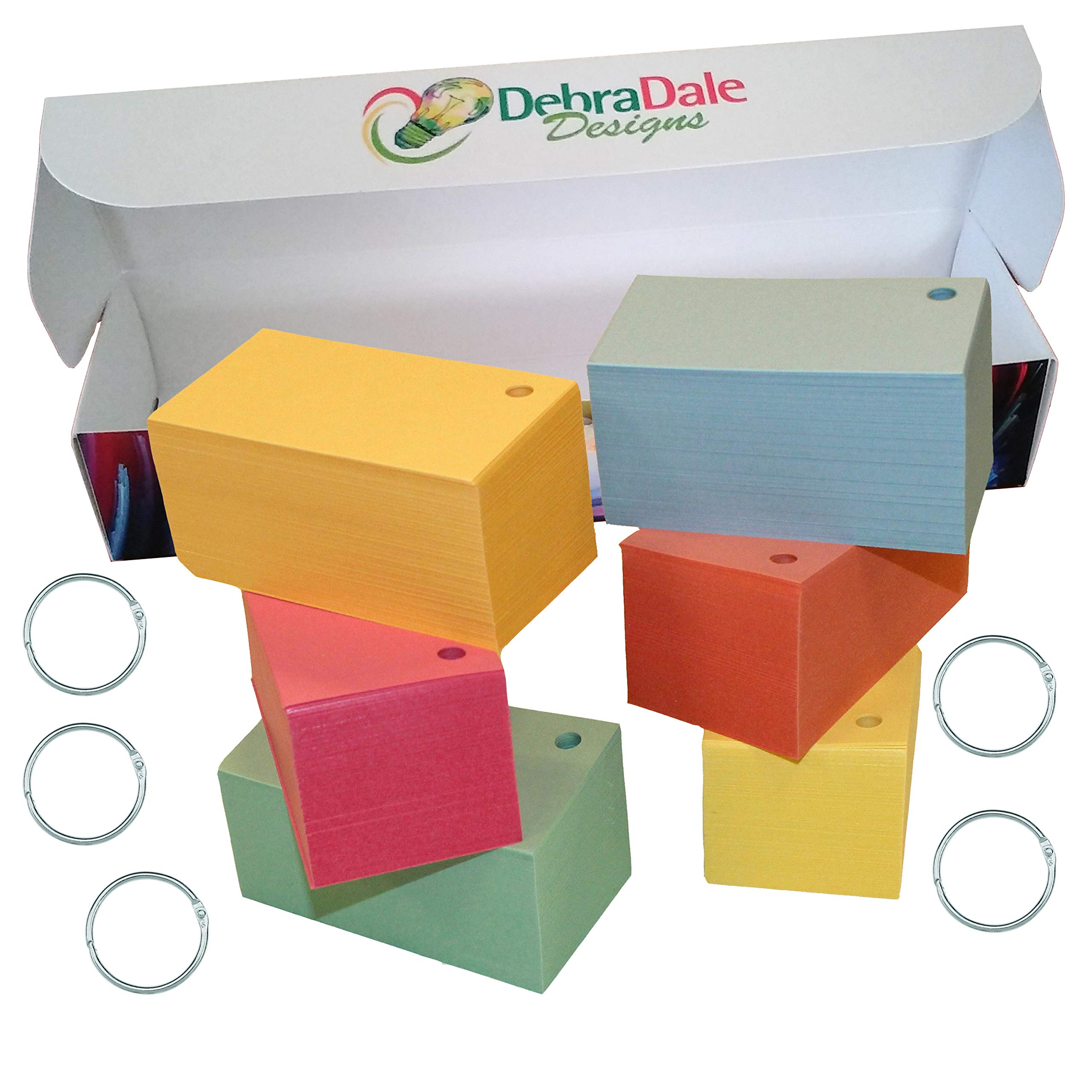 Debra Dale Designs - Standard 110# Index Card Stock - Blank Flash Cards Single Hole Punched with Five (5) Metal Binder Rings - 3.5'' x 2'' Inches - Six (6) Pastel Colors - Storage Filing Box of 1,100 by DEBRADALE DESIGNS