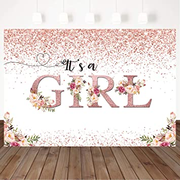 Mocsicka Girl Baby Shower Backdrop Floral Confetti Rose Gold Baby Shower Background 7x5ft Vinyl Floral Baby Girl Newborn Party Photo Props Backdrops Amazon Ca Camera Photo