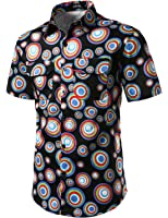 JOGAL Men's Polka Dot Print Casual Button Down Shirt