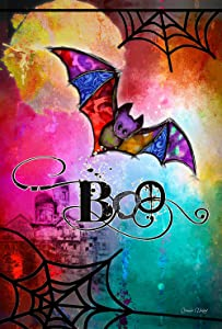 Toland Home Garden Boo Bat 12.5 x 18 Inch Decorative Colorful Halloween Spider Web Garden Flag