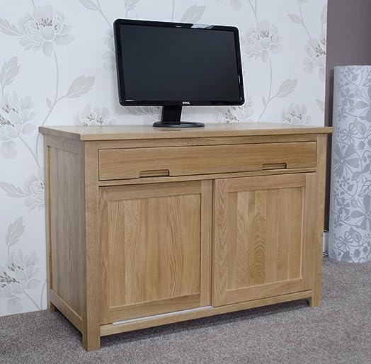 Eton Solid Oak Furniture Home Office PC Hideaway Computer Desk