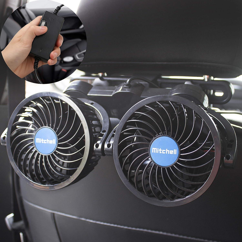 PORAXY 2019年改良版 車載ファン 2代目 4インチ 熱対策 車載扇風機 電動ファン低騒音 無段階風量調節可能 角度調整可能 ツーファン付き 汎用タイプ 夏対策 DC12V車用 日本語マニュアル付き 一年保障付き