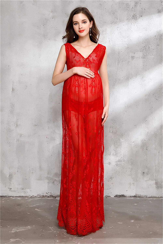 2 Pcs Women's Red Skirt Lace Jacquard Maternity Dress Long Dress Pregnant Women Photography Props Take Photo